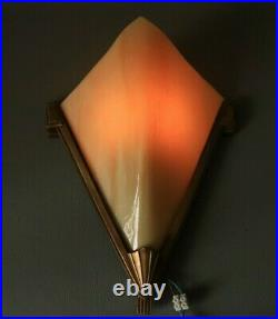 French Antique Slip Shade ART DECO Wall Sconce Lamp Light Brass Slag Glass 1930s