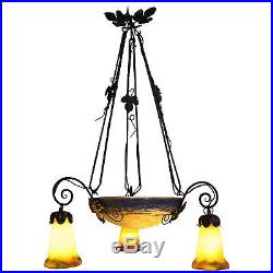 French Art Deco Chandelier Signed G. V. Croismare'Muller Freres Iron and Glass