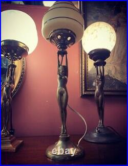 French Art Deco Gold Diana Lamp with Empire Skyscraper Glass Shade