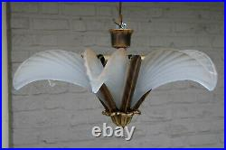 French art deco 6 glass shell chandelier pendant lamp 1950