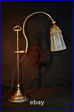 French art nouveau Chevalier Brevette 1910 plated fully adjustable student lamp
