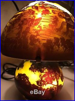 Galle Cameo Glass Toad Frog Band Lamp 10 Brown Gold Blue Green