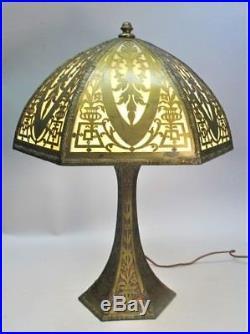 Gorgeous ANTIQUE AMERICAN ART NOUVEAU Copper Overlay Slag Glass Lamp c. 1915