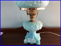 Gorgeous FENTON ART GLASS LAMP Blue Satin with Poppy Poppies FLORAL