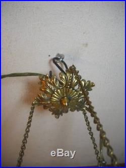 Gorgeous Fenton Honeysuckle Coin Dot Hanging Lamp Excellent Condition