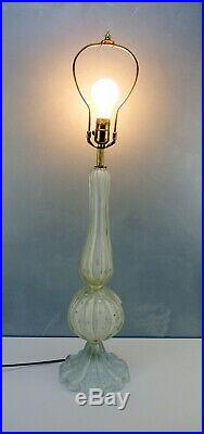 Gorgeous Mid Century Barovier TOSO Fluted MURANO Art GLASS Table Lamp ITALY Gold