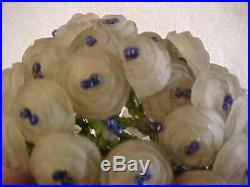 Great Czech Cast Roses & Beaded Art Glass Bulb Cover Lamp Shade LALIQUE