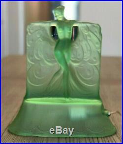 Green Mckee Danse De Lumiere Art Deco Nude Figural Lamp Lalique Suzanne Style