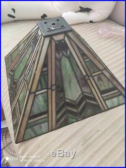 Green Square Stained Glass Lamp Shade Tiffany Style Mission Arts Crafts 14
