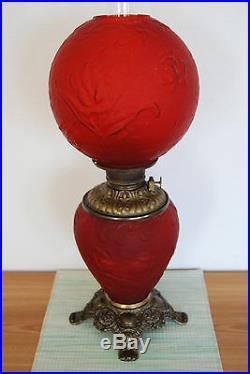 Gwtw Antique Fostoria Art Nouveau Deco Oil Banquet Tulip Flower Red Glass Lamp