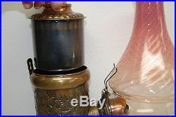 Gwtw Victorian Antique Old Arts And Crafts Glass Kerosene Oil Angle 19 C. Lamp