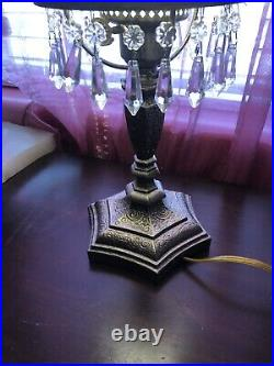 Hand Painted Fenton Student Lamp Purple Glass Shade Signed