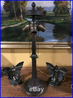 Handel Antique Leaded Slag Glass Arts Crafts Vintage Bradley Hubbard era base