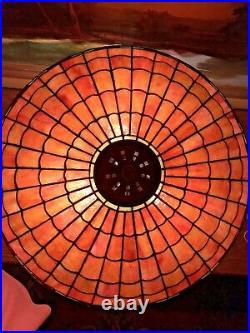 Handel Arts Crafts Mission Antique Slag Glass Leaded Lamp bradley hubbard era NR