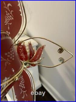 Hollywood Regency Vintage Pink Lotus Flower Floor Lamp
