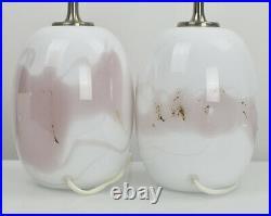 Holmegaard Sakura Table Lamps Pair Michael Bang Mid Century Modern Art Glass