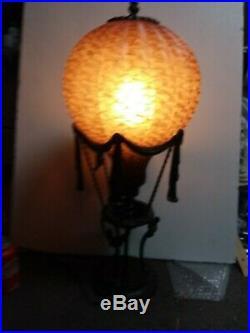 Hot Air Balloon Lamp Maitland Smith Style Amber Art Glass Lampshade