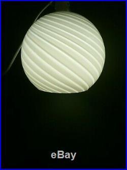 ITALIAN Murano VETRI VENINI Swirl Glass GLOBE LIGHT SHADE Round White Mushroom