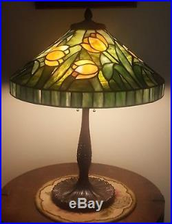J A Whaley Arts & Crafts Leaded Slag Stained Glass Lamp Handel Tiffany Era