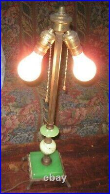 Jadeite & uranium slag glass Art Deco Parlor LAMP antique table, cast iron green
