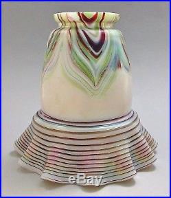 KRALIK Pulled Feather Art Glass Lamp Shade ca. 1900 Loetz Pallme Rindskopf Era