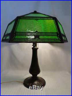 Killer Signed Handel Arts & Crafts Table Lamp, Great Glass, Great Patina