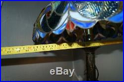 LARGE Vintage 1940s 50s Era Leaded Stained Art Glass Shade Electric Table Lamp
