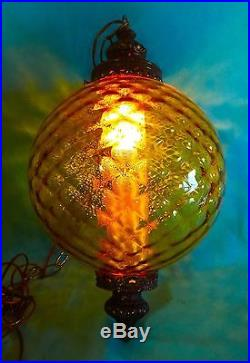 LG Vintage Mid Century AMBER Optic Art Glass Ball Shade Hanging Swag Lamp Light