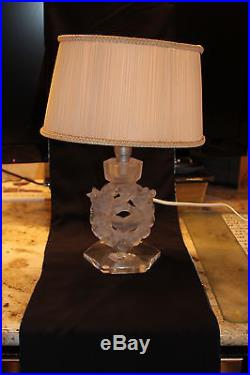Lalique Crystal Lamp Frosted with Shade Mesanges Design