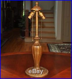 Large Antique Art Nouveau Slag Glass Lamp Arts and Crafts