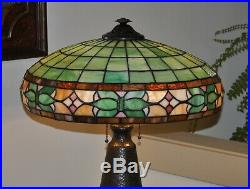 Large Antique Arts & Crafts Leaded Glass Lamp Mission Wilkinson Shade
