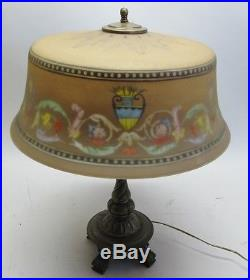 Large Antique Signed Pairpoint Reverse Painted Art Glass Lamp with Original Base