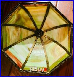 Large Art Nouveau Miller Slag Glass Overlay Lamp 12 Panels