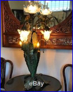 Large Art Nouveau Patinated Bronze and Glass Floral Lamp Circa 1920