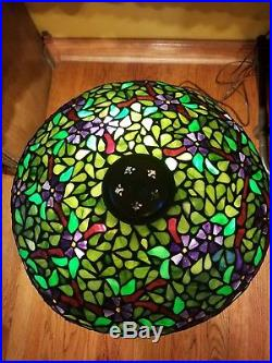 Large Arts & Crafts, Nouveau, Signed Handel Leaded Stained Slag Glass Table Lamp