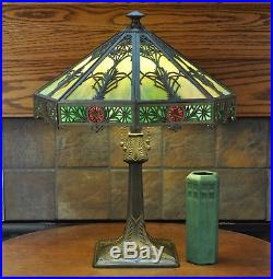 Large Arts and Crafts Bradley and Hubbard B&H Slag Glass Lamp