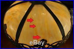 Large Bradley & Hubbard Arts and Crafts Iris Slag Glass Lamp B&H Art Nouveau