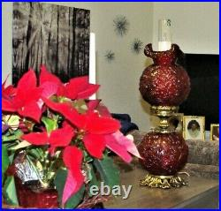 Large Fenton L&L 729 Cranberry/Red Poppy GWTW Lamp 26 Tall, Ruby Red, Gold
