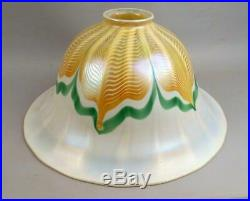 Large Signed 15 Inch Quezal Pulled Feather Iridescent Art Glass Lamp Shade