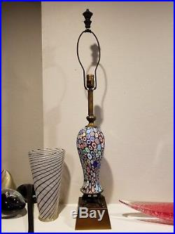 Large Vintage Fratelli Toso Millefiori Murano Glass Lamp