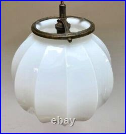 Large original Art Deco pleated white opaline glass globe light shade lamp