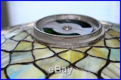 Leaded Stained Slag Art Glass Lamp Shade Roses Pattern, Handel B&H Era