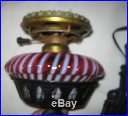 Lg Antique Fenton Cranberry Swirl Opalescent Cast Iron Sconce Wall Art Oil Lamp