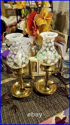 Lovely PAIR of Fenton coin dot candlestick lamps withshade 13
