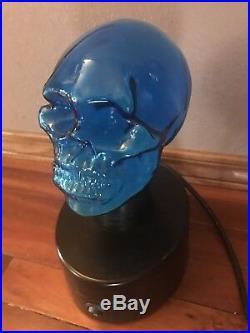 LumiSource Electra Blue Plasma Lighting Motion Art Glass SKULL 10 Accent Lamp