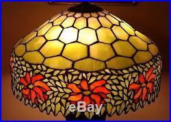 MASSIVE Antique Handel / Unique Arts & Crafts Leaded Slag Stained Glass Lamp