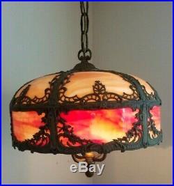 MILLER / ROYAL ART GLASS CO Art Nouveau Orange Red Glass Ceiling Slag Swag Lamp