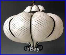 MURANO GLASS LATTICINO HANGING CAGED PENDANT LAMP CEILING SHADE Light MCM Retro
