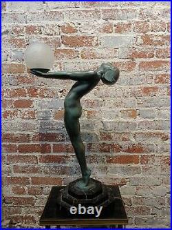 Max Le Verrier 1930s Fabulous Art Deco Lamp Nude Female withglass Globe