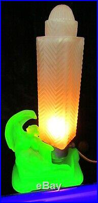 McKee Art Deco Table Lamp Uranium Glass Nude Angel Base with Frosted Skyscraper